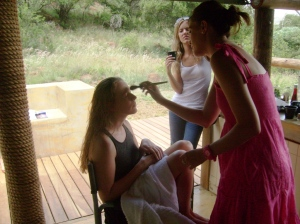 Wedding day...Xan being pampered.